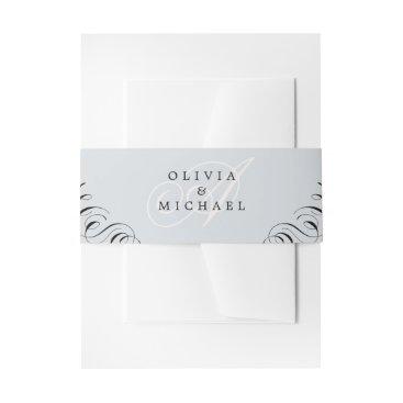 Wedding Themed Elegant flourish calligraphy vintage wedding invitation belly band