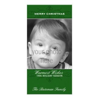 Elegant Flourish Christmas Photo Card in Green