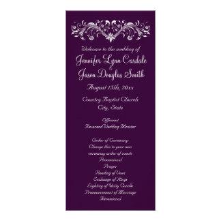 Elegant Flourish Deep Purple Wedding Programs Custom Rack Card