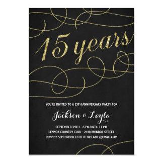 Elegant Flourish | Faux Gold Foil 15th Anniversary Card
