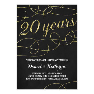 Elegant Flourish | Faux Gold Foil 20th Anniversary Card