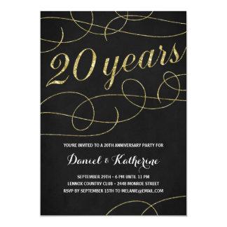 Elegant Flourish | Faux Gold Foil 20th Anniversary Invitation