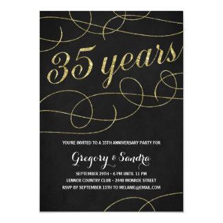 Elegant Flourish | Faux Gold Foil 35th Anniversary Card