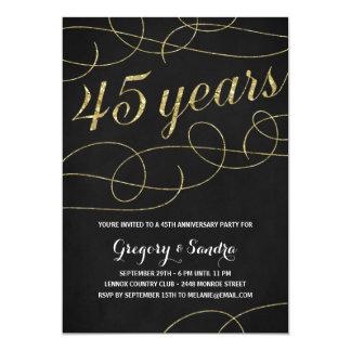 Elegant Flourish | Faux Gold Foil 45th Anniversary Card