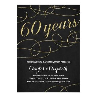 Elegant Flourish | Faux Gold Foil 60th Anniversary 5x7 Paper Invitation Card