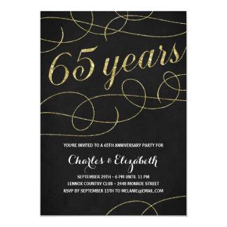 Elegant Flourish   Faux Gold Foil 65th Anniversary Card