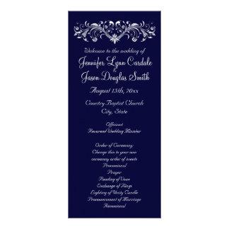 Elegant Flourish Navy Blue Wedding Programs Rack Cards