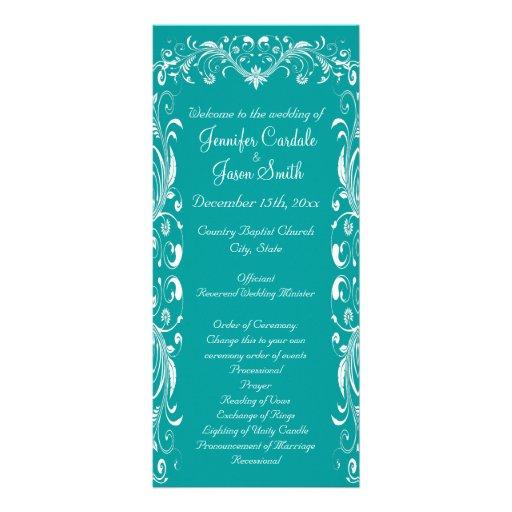Elegant Flourish Teal Blue Wedding Programs Custom Rack Card