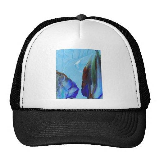 Elegant Flower Abstract Blue Art CricketDiane Hats