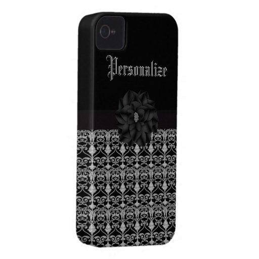 Elegant Flower Black & Silver Filigree iPhone 4 iPhone 4 Cover