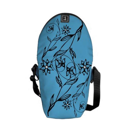 Elegant Flower Blue Mini Messenger Bag