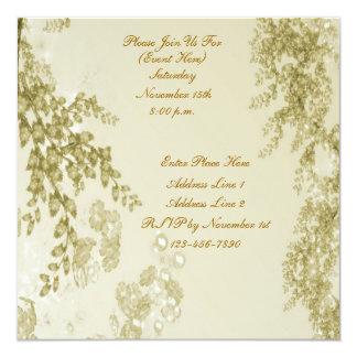 Elegant Flower Branches Square Invitation
