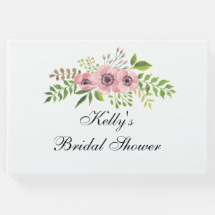 elegant flower bridal shower guest book