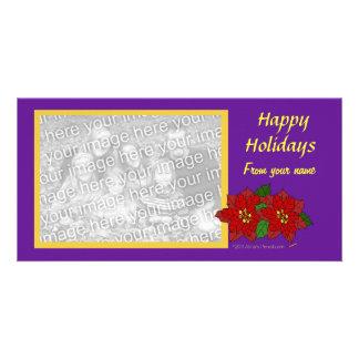 Elegant Flower Christmas Custom Photo Purple Gold Photo Cards