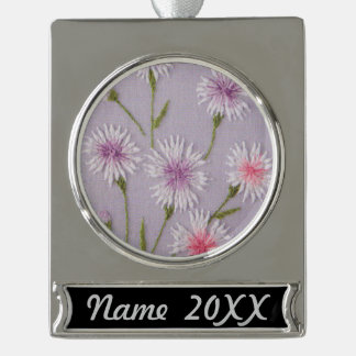 Elegant Flower Embroidery Silver Plated Banner Ornament