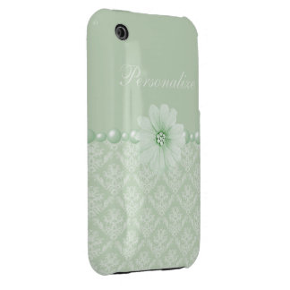 Elegant Flower & Pearls Damask Pattern iPhone 3 Cover