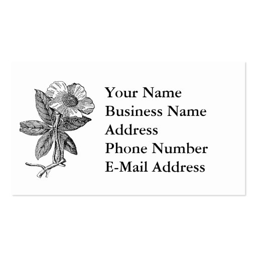 Elegant Flower Pencil Sketch Business Cards