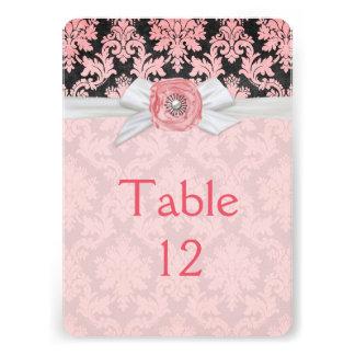 Elegant Flower Ribbon Damask Table card
