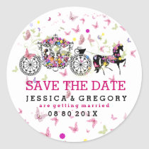 Elegant Flowers And Wedding Horse & Carriage Classic Round Sticker