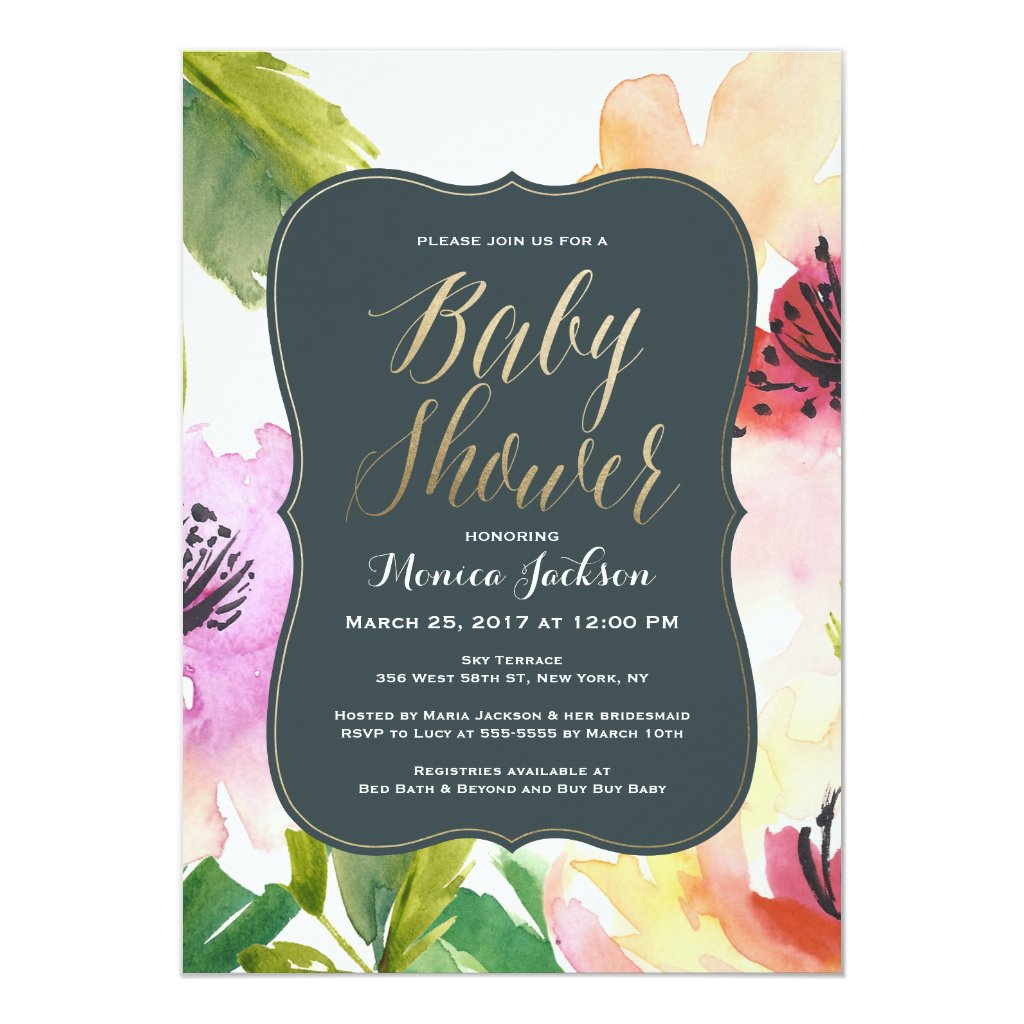 Elegant Flowers | Baby Shower Invitation