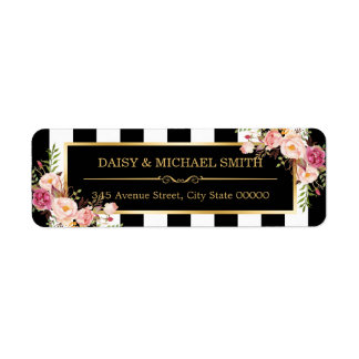 Elegant Flowers Black White Stripes Gold Frame Label
