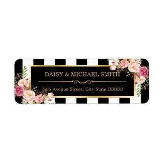 Elegant Flowers Black White Stripes Gold Frame Return Address Label