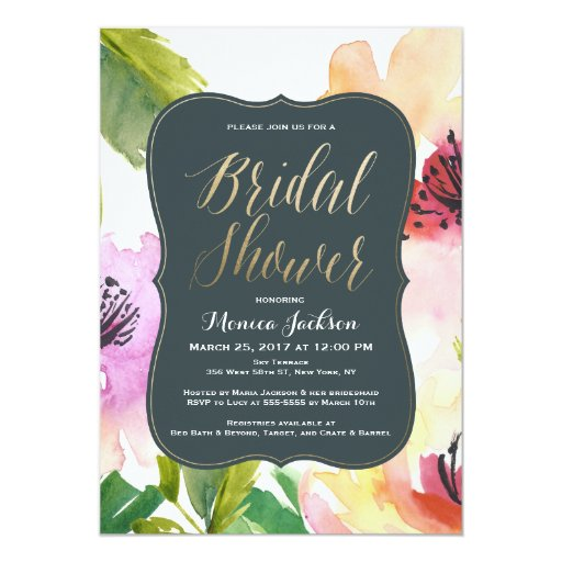 Elegant flowers bridal shower invitation zazzle for Flower bridal shower invitations