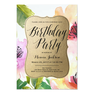 Elegant Flowers Gold | Birthday Party Invitation