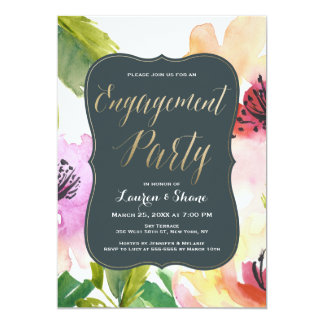 Elegant Flowers Gold Engagement Party Invitation
