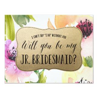 Elegant Flowers Gold | Junior Bridesmaid 4.25x5.5 Paper Invitation Card