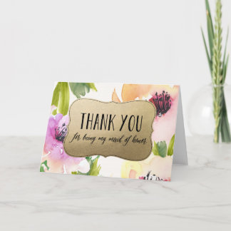 Elegant Flowers Gold Maid Of Honor Thank You