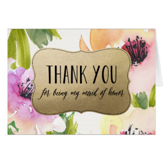 Elegant Flowers Gold Maid Of Honor Thank You Card