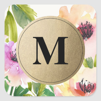 Elegant Flowers Gold Monogram | Favor Labels