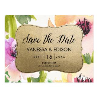 Elegant Flowers Gold | Save the Date Postcard