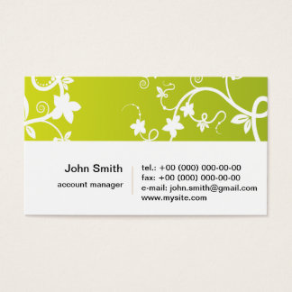 Elegant Flowers on green background Business Card