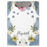 Elegant Flowers Pink Yellow Watercolor Personalize Clipboard