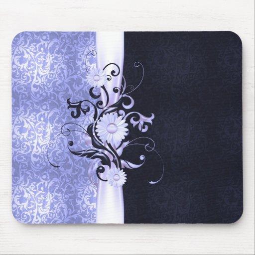 Elegant Flowers Ribbon Blue Damask Mousepad
