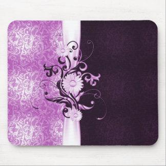 Elegant Flowers Ribbon Pink Damask Mousepad