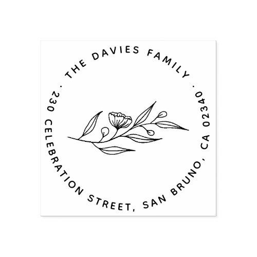 Elegant Flowers Round Family Name  Return Address Rubber Stamp