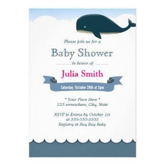 Elegant Flying Whale Baby Shower Invitations