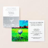 Elegant Foil Golf Hobby 50th Sports Birthday Foil Card