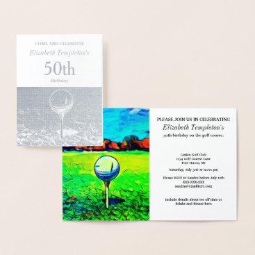 TheShirtBox Elegant Foil  Golfing Birthday Themed Invitations