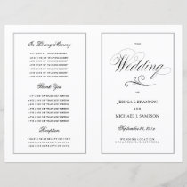 Elegant Folding Wedding Program Silver Border