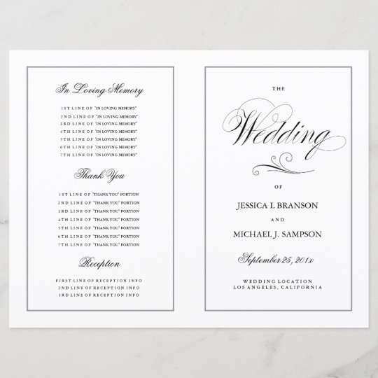 elegant folding wedding program silver border zazzle com