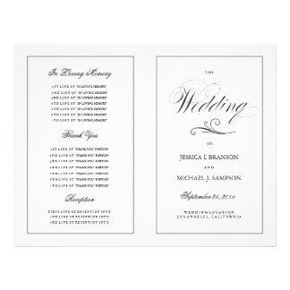 Elegant Folding Wedding Program Silver Border