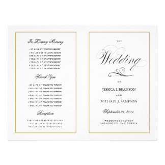 Elegant Folding Wedding Program Solid Gold Border
