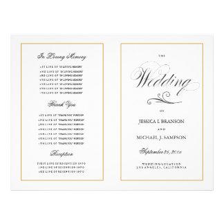 "Elegant Folding Wedding Program Solid Gold Border 8.5"" X 11"" Flyer"