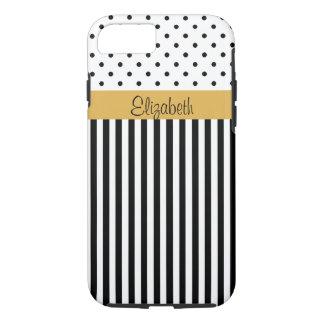Elegant, For Ladies Black White Polka Dots Stripes iPhone 8/7 Case