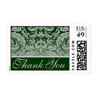 Elegant Forest Damask Thank You Postage Stamp