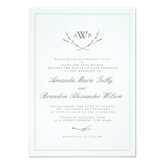 Elegant Forest Monogram Wedding Invites